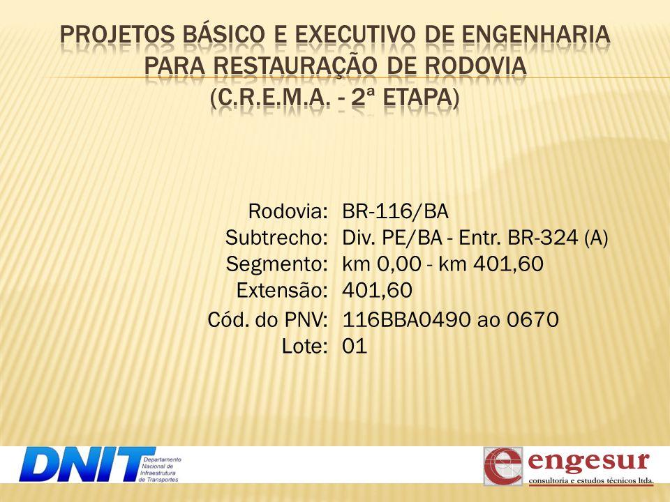 PROJETOS BÁSICO E EXECUTIVO DE ENGENHARIA PARA RESTAURAÇÃO DE RODOVIA (C.R.E.M.A. - 2ª ETAPA)