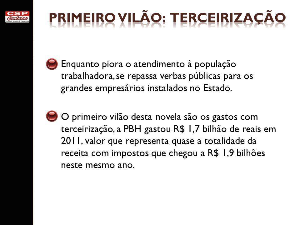 PRIMEIRO VILÃO: TERCEIRIZAÇÃO