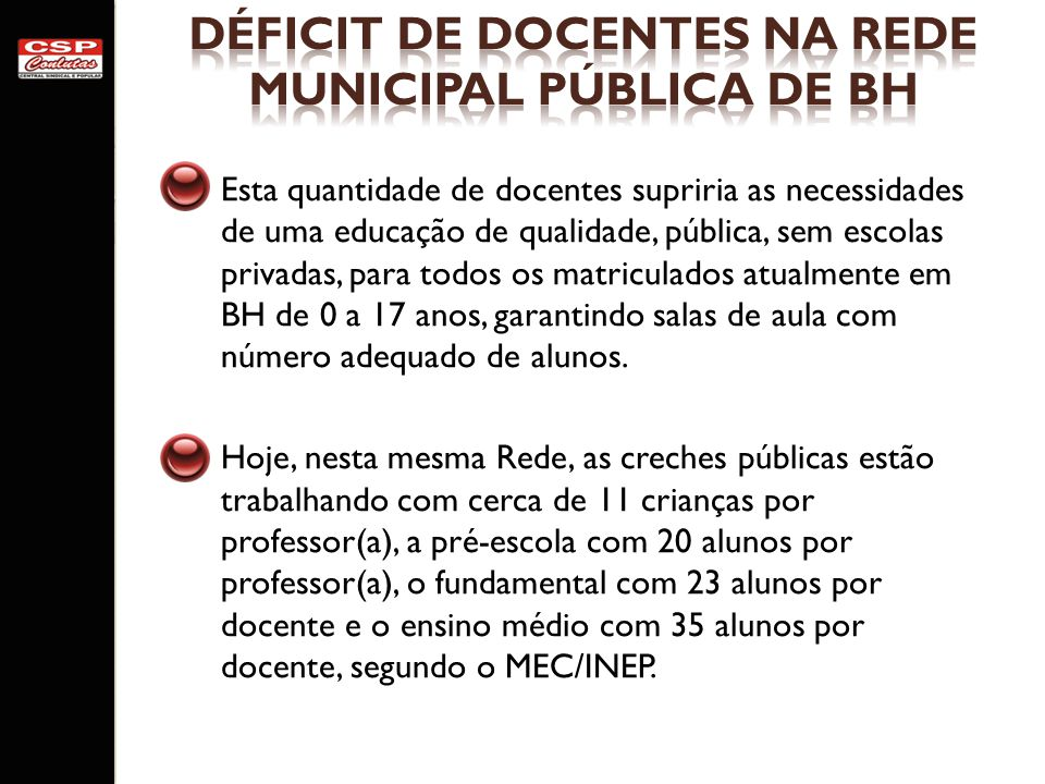 DÉFICIT DE DOCENTES NA REDE MUNICIPAL PÚBLICA DE BH