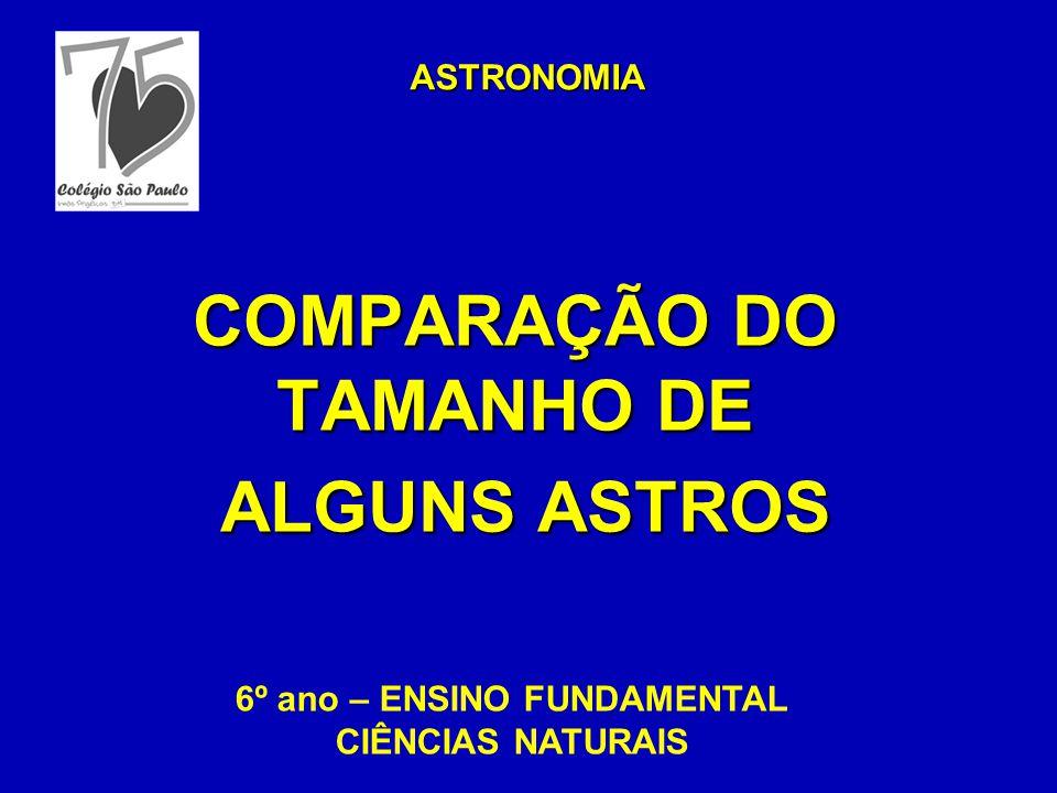 COMPARAÇÃO DO TAMANHO DE ALGUNS ASTROS