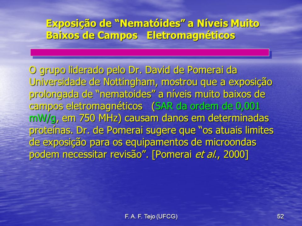 Exposição de Nematóides a Níveis Muito Baixos de Campos Eletromagnéticos