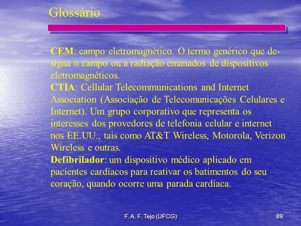 Glossário CEM: campo eletromagnético. O termo genérico que de- signa o campo ou a radiação emanados de dispositivos eletromagnéticos.