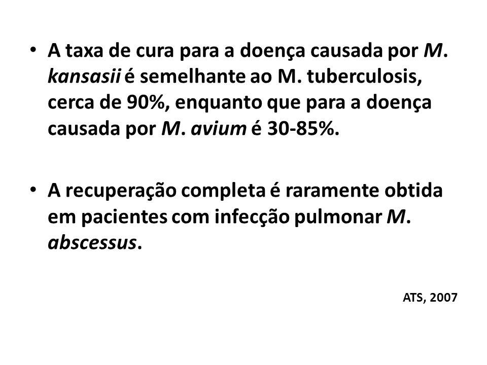 A taxa de cura para a doença causada por M. kansasii é semelhante ao M
