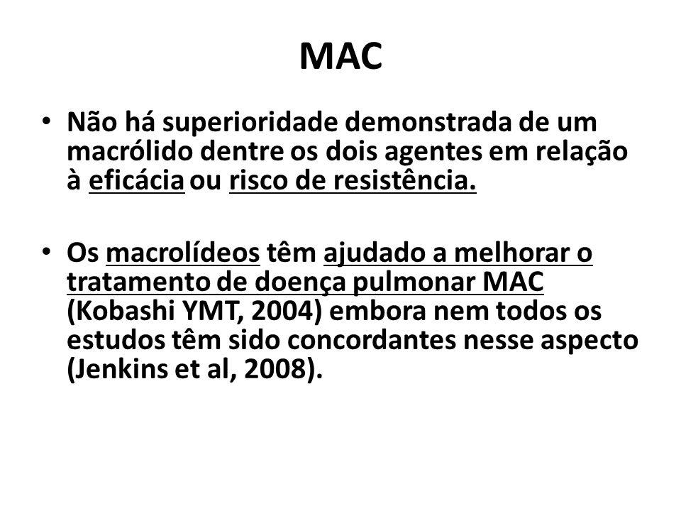 MAC Não há superioridade demonstrada de um macrólido dentre os dois agentes em relação à eficácia ou risco de resistência.