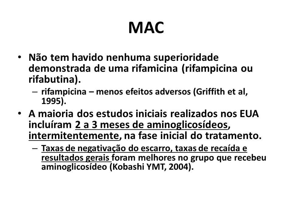 MAC Não tem havido nenhuma superioridade demonstrada de uma rifamicina (rifampicina ou rifabutina).