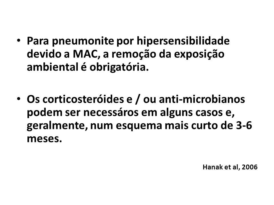 Para pneumonite por hipersensibilidade devido a MAC, a remoção da exposição ambiental é obrigatória.