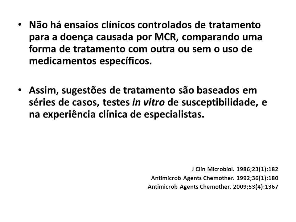 Não há ensaios clínicos controlados de tratamento para a doença causada por MCR, comparando uma forma de tratamento com outra ou sem o uso de medicamentos específicos.
