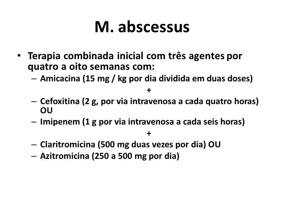 M. abscessus Terapia combinada inicial com três agentes por quatro a oito semanas com: Amicacina (15 mg / kg por dia dividida em duas doses)