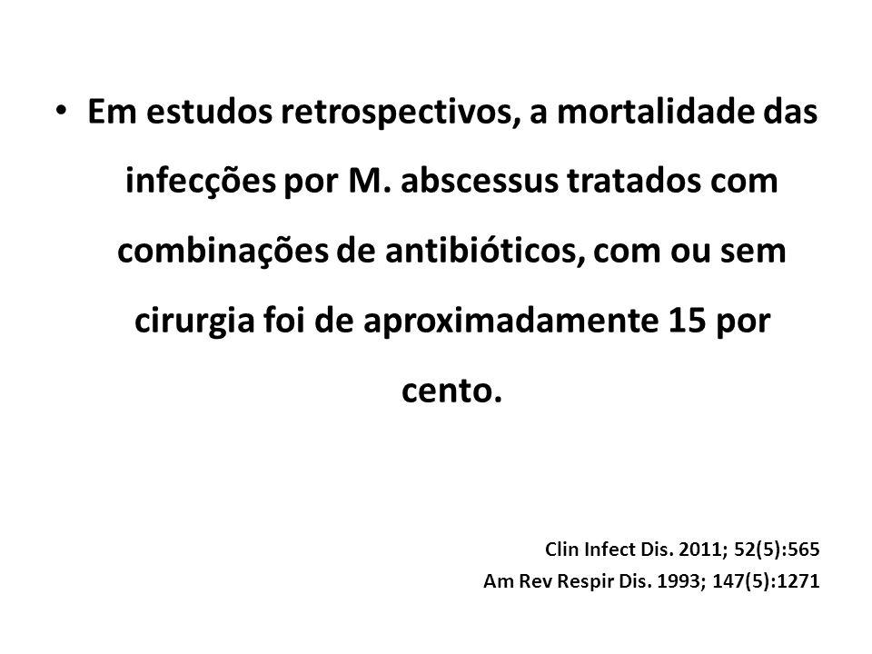 Em estudos retrospectivos, a mortalidade das infecções por M