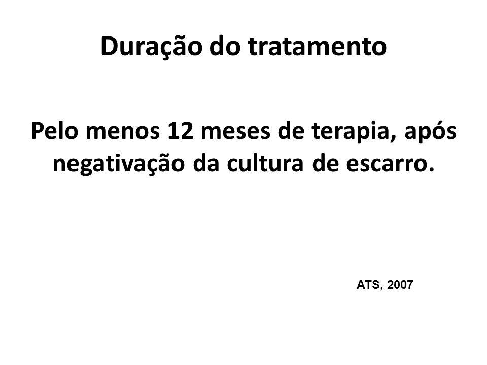 Duração do tratamento Pelo menos 12 meses de terapia, após negativação da cultura de escarro.