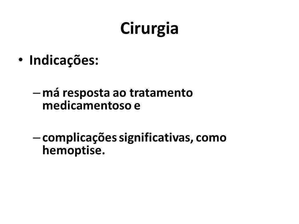 Cirurgia Indicações: má resposta ao tratamento medicamentoso e