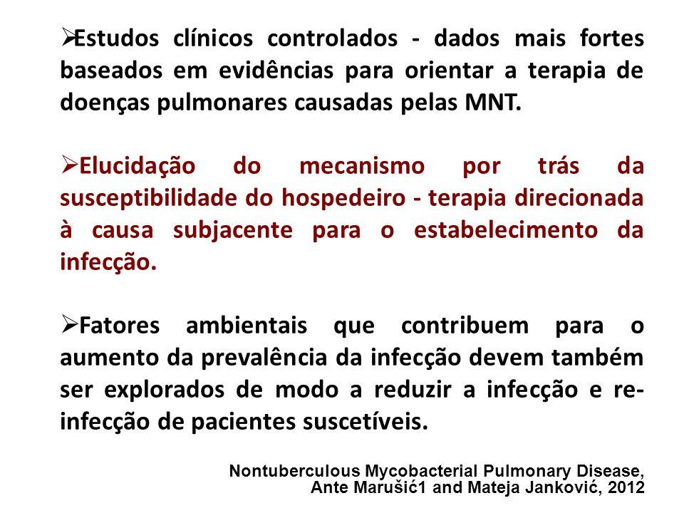 Estudos clínicos controlados - dados mais fortes baseados em evidências para orientar a terapia de doenças pulmonares causadas pelas MNT.