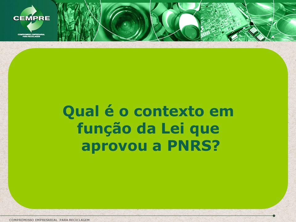 Qual é o contexto em função da Lei que aprovou a PNRS