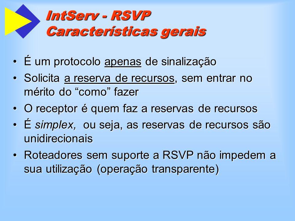 IntServ - RSVP Características gerais