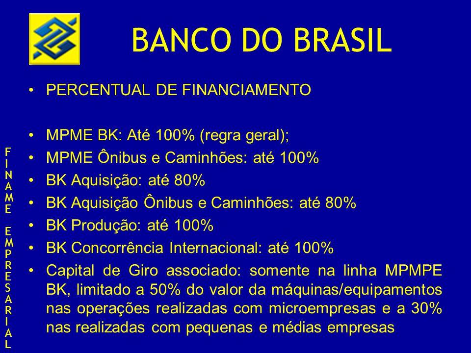 PERCENTUAL DE FINANCIAMENTO MPME BK: Até 100% (regra geral);