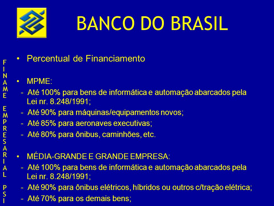 Percentual de Financiamento