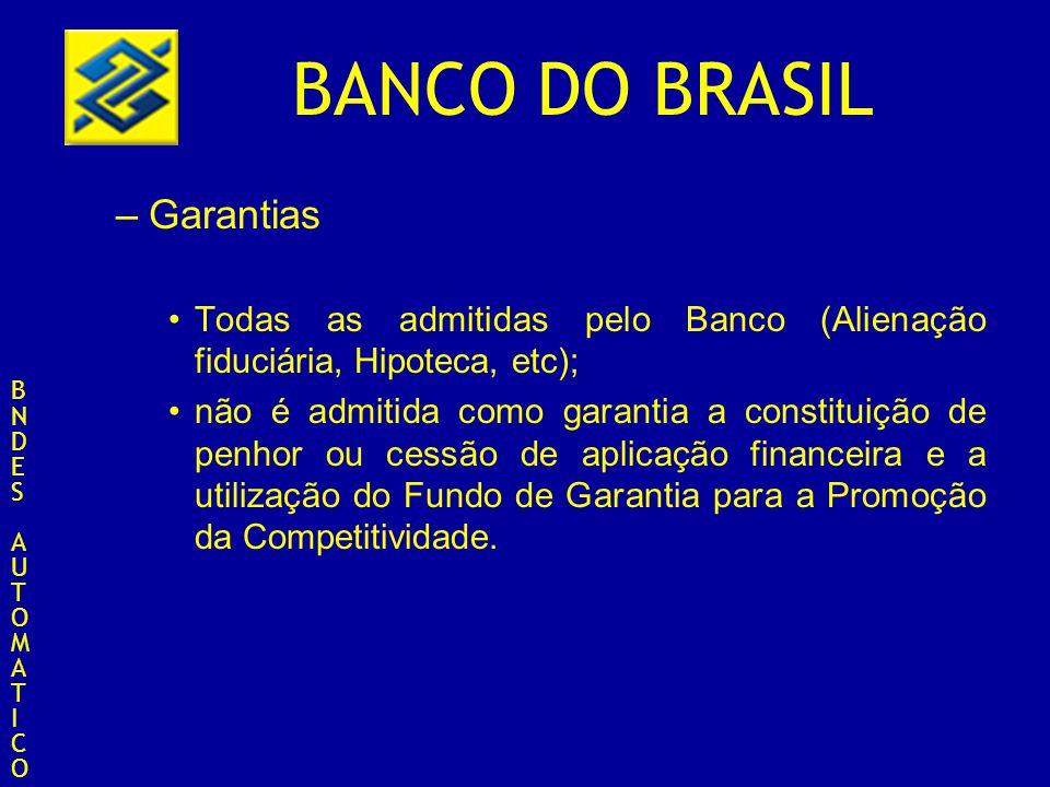 Garantias Todas as admitidas pelo Banco (Alienação fiduciária, Hipoteca, etc);