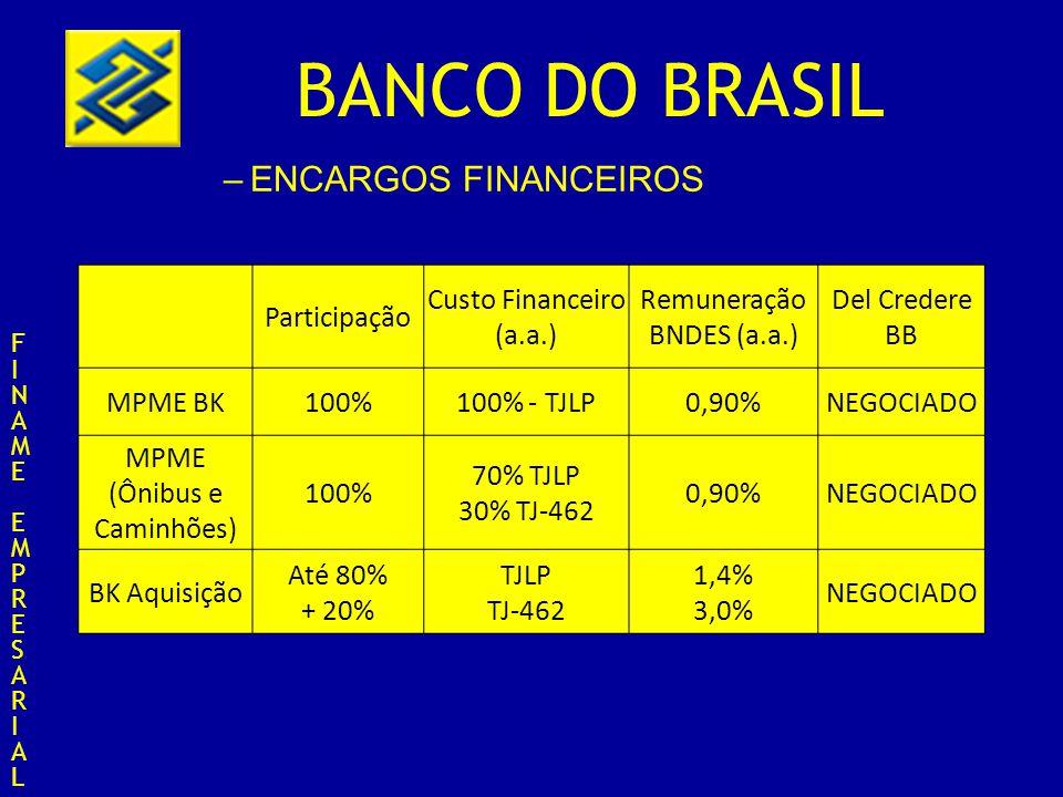 ENCARGOS FINANCEIROS Participação Custo Financeiro (a.a.)
