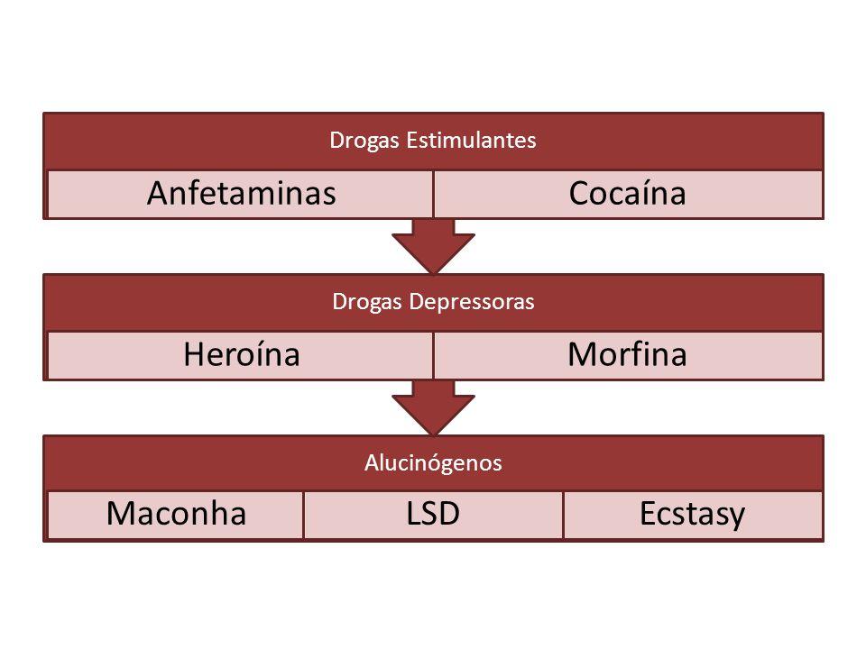 Drogas Estimulantes Anfetaminas. Cocaína. Drogas Depressoras. Heroína. Morfina. Alucinógenos. Maconha.