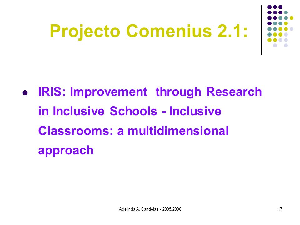 Projecto Comenius 2.1: IRIS: Improvement through Research in Inclusive Schools - Inclusive Classrooms: a multidimensional approach.