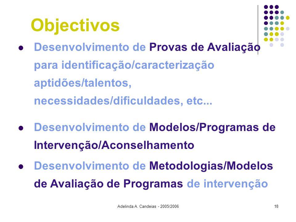 Objectivos Desenvolvimento de Provas de Avaliação para identificação/caracterização aptidões/talentos, necessidades/dificuldades, etc...