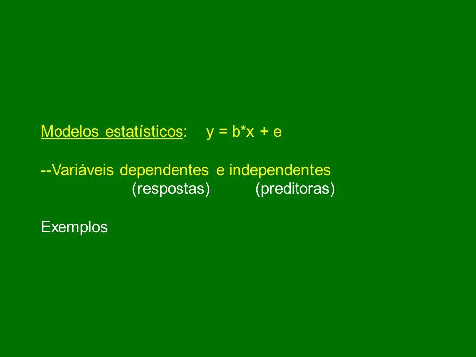 Modelos estatísticos: y = b*x + e