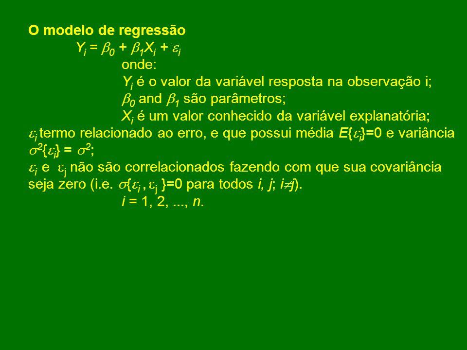 O modelo de regressão Yi = 0 + 1Xi + i. onde: Yi é o valor da variável resposta na observação i;