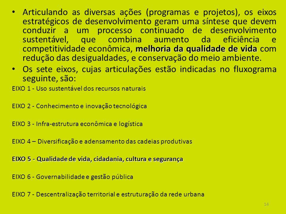 Articulando as diversas ações (programas e projetos), os eixos estratégicos de desenvolvimento geram uma síntese que devem conduzir a um processo continuado de desenvolvimento sustentável, que combina aumento da eficiência e competitividade econômica, melhoria da qualidade de vida com redução das desigualdades, e conservação do meio ambiente.