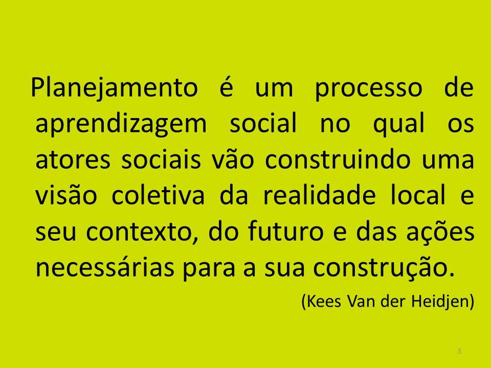 Planejamento é um processo de aprendizagem social no qual os atores sociais vão construindo uma visão coletiva da realidade local e seu contexto, do futuro e das ações necessárias para a sua construção.