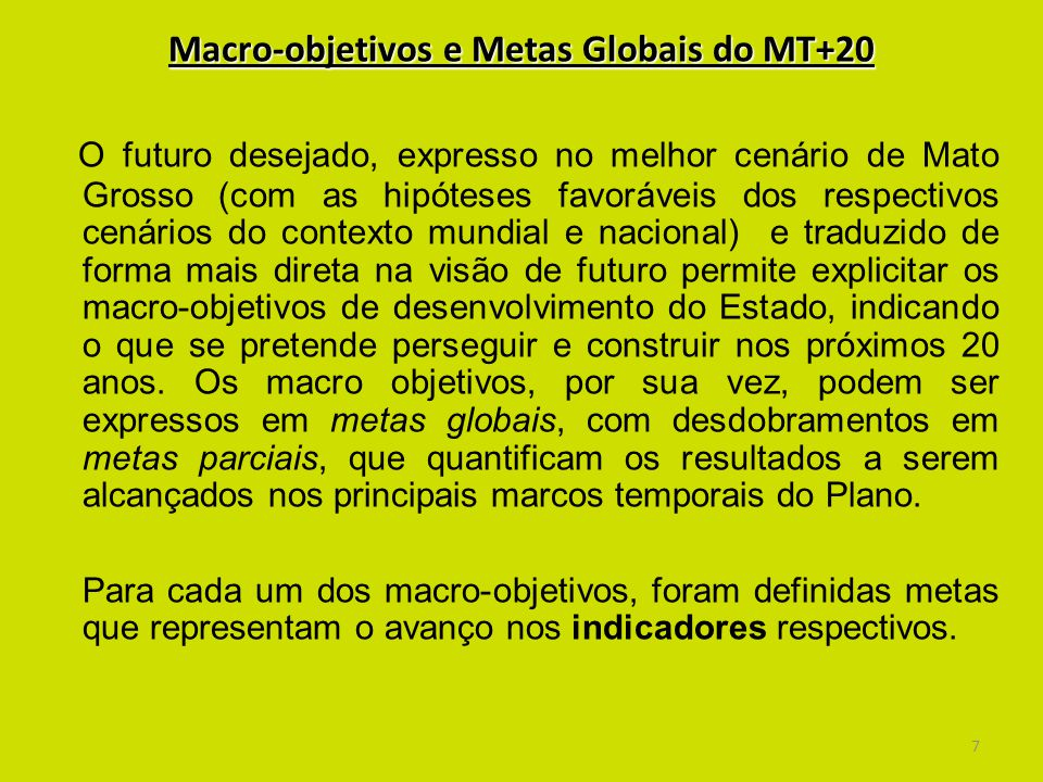 Macro-objetivos e Metas Globais do MT+20