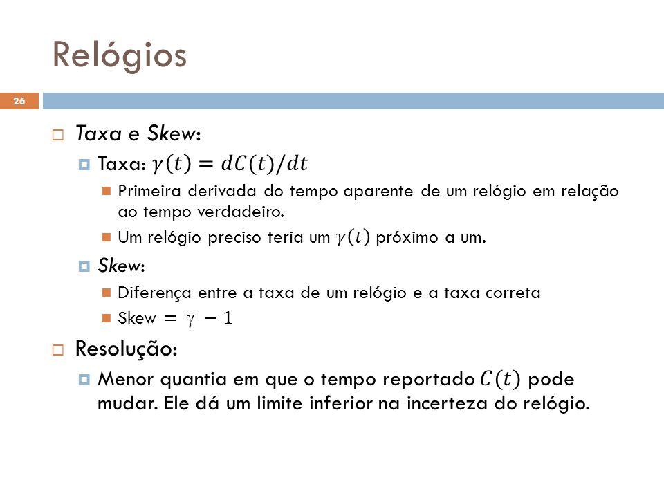 Relógios Taxa e Skew: Resolução: Taxa: 𝛾 𝑡 =𝑑𝐶(𝑡)/𝑑𝑡 Skew: