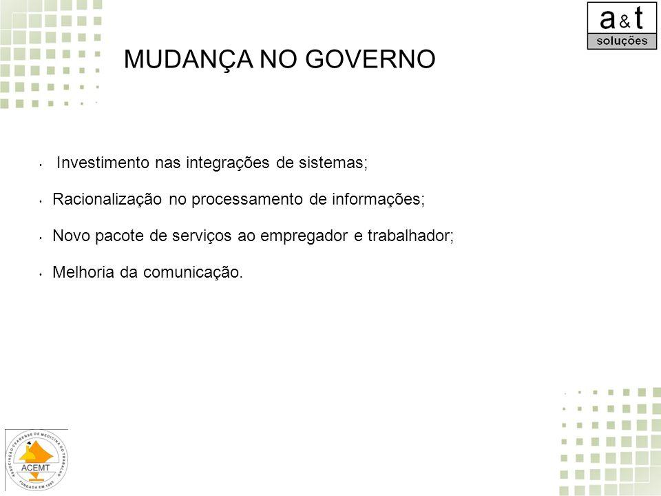 MUDANÇA NO GOVERNO Investimento nas integrações de sistemas;