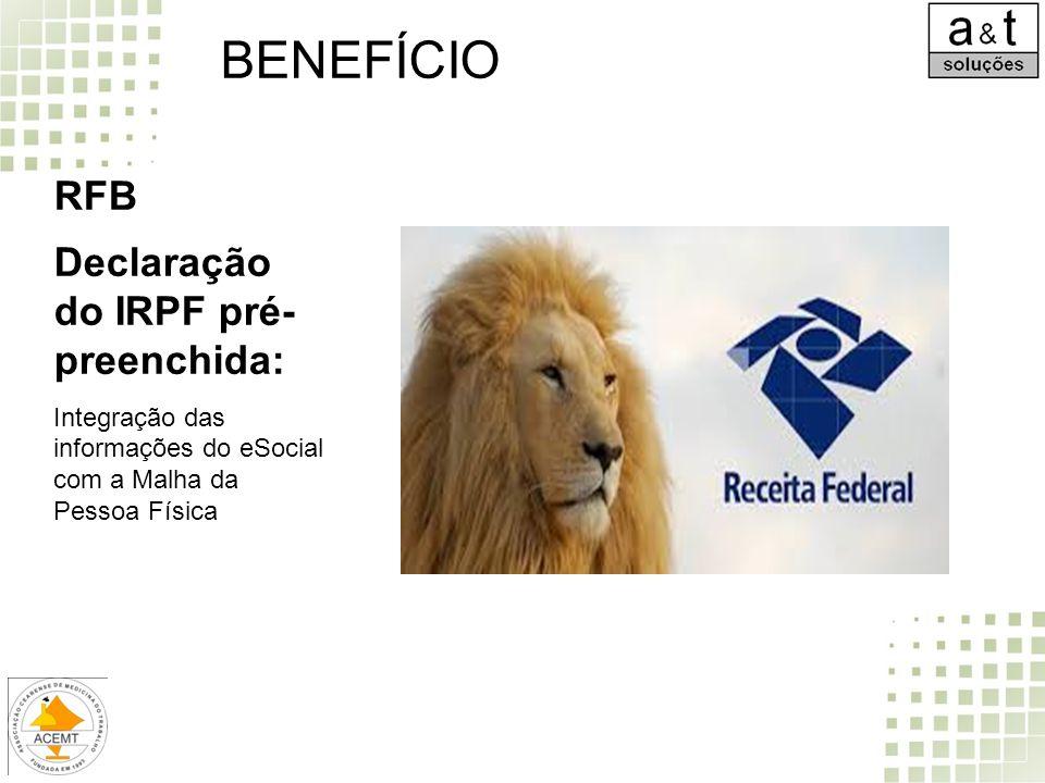 BENEFÍCIO RFB Declaração do IRPF pré- preenchida: