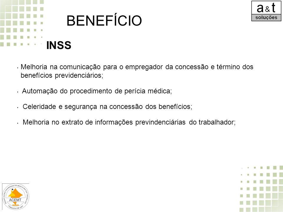 BENEFÍCIO INSS. Melhoria na comunicação para o empregador da concessão e término dos benefícios previdenciários;