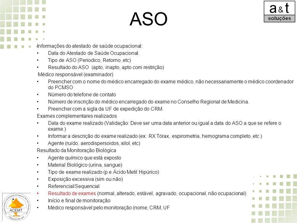 ASO Informações do atestado de saúde ocupacional: