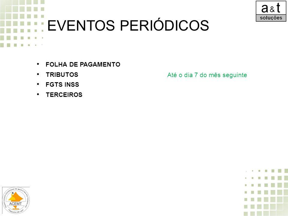 EVENTOS PERIÓDICOS FOLHA DE PAGAMENTO TRIBUTOS FGTS INSS TERCEIROS