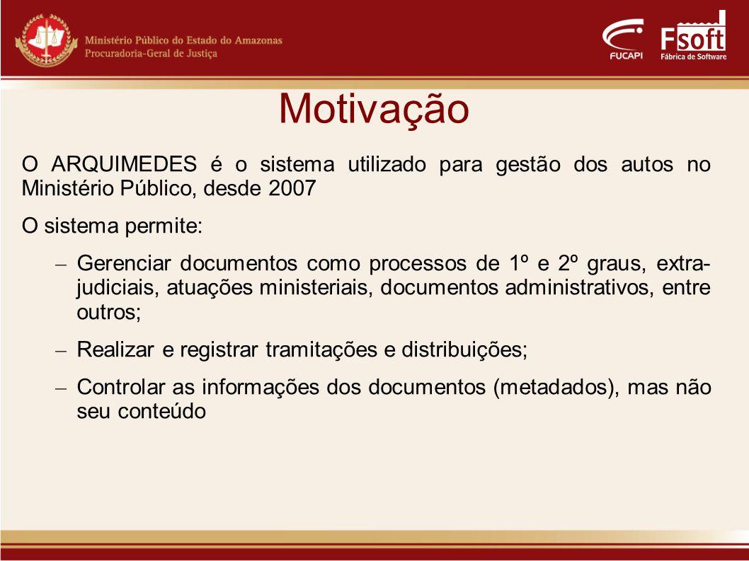 Motivação O ARQUIMEDES é o sistema utilizado para gestão dos autos no Ministério Público, desde 2007.