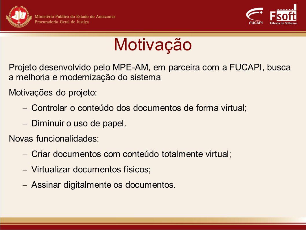 Motivação Projeto desenvolvido pelo MPE-AM, em parceira com a FUCAPI, busca a melhoria e modernização do sistema.