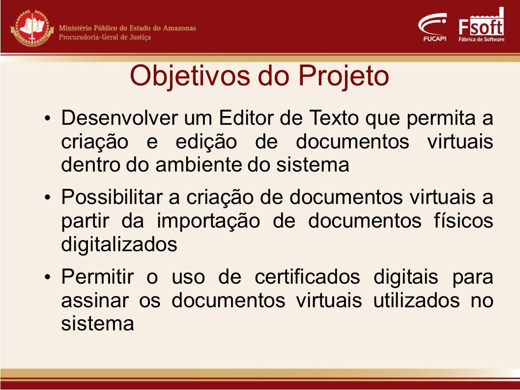 Objetivos do Projeto Desenvolver um Editor de Texto que permita a criação e edição de documentos virtuais dentro do ambiente do sistema.