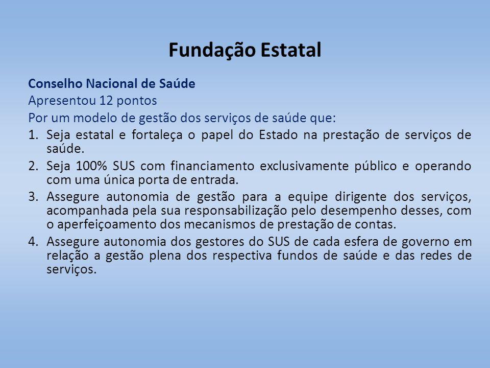Fundação Estatal Conselho Nacional de Saúde Apresentou 12 pontos