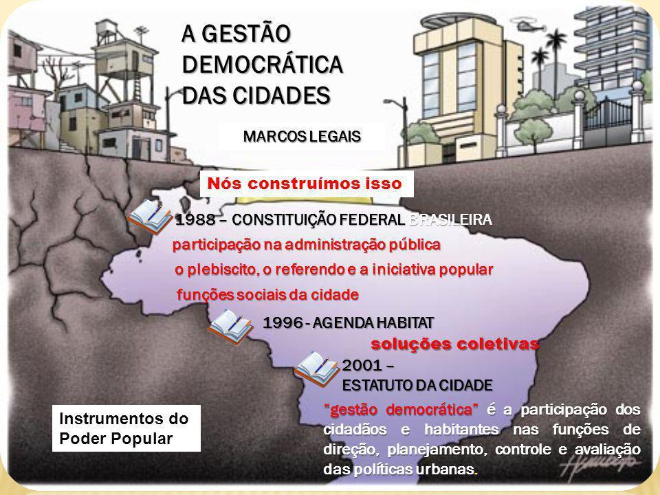 A GESTÃO DEMOCRÁTICA DAS CIDADES MARCOS LEGAIS Nós construímos isso