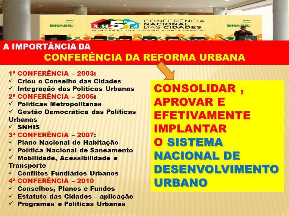 CONFERÊNCIA DA REFORMA URBANA