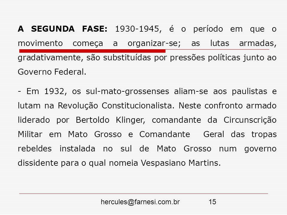 A SEGUNDA FASE: 1930-1945, é o período em que o movimento começa a organizar-se; as lutas armadas, gradativamente, são substituídas por pressões políticas junto ao Governo Federal.