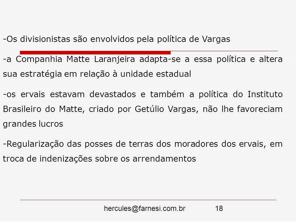 Os divisionistas são envolvidos pela política de Vargas