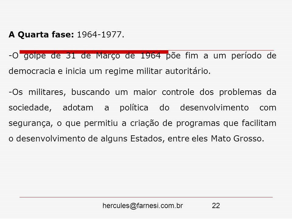 A Quarta fase: 1964-1977. O golpe de 31 de Março de 1964 põe fim a um período de democracia e inicia um regime militar autoritário.