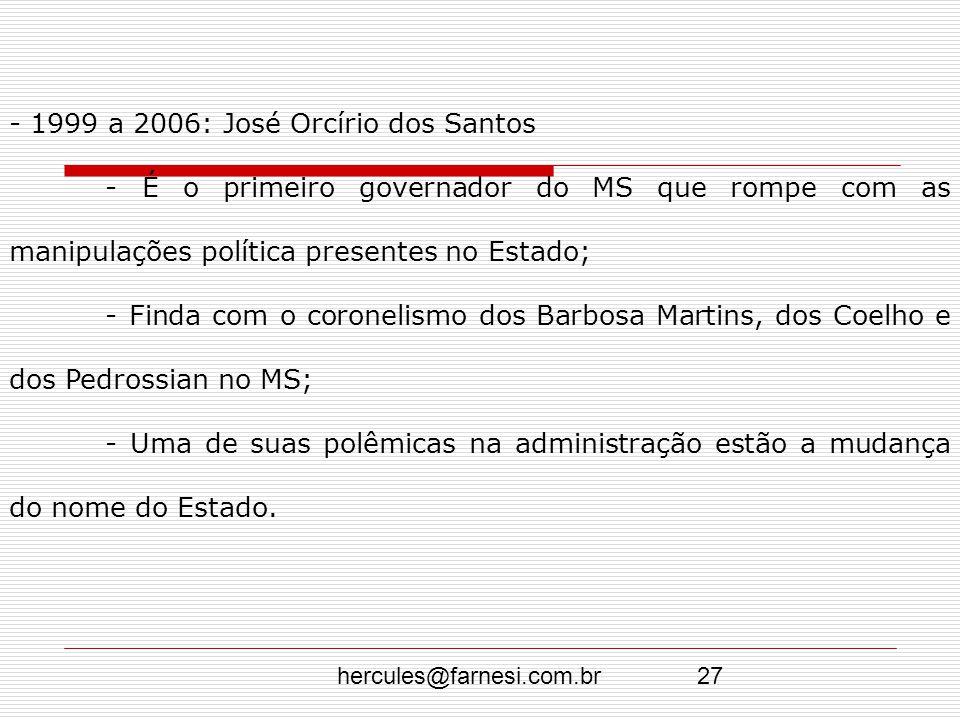 - 1999 a 2006: José Orcírio dos Santos