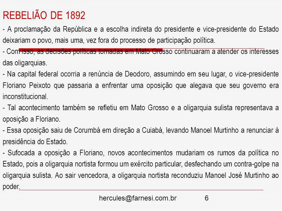 REBELIÃO DE 1892