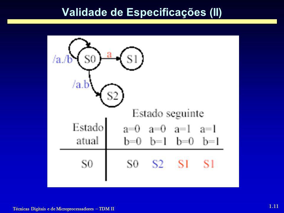 Validade de Especificações (II)