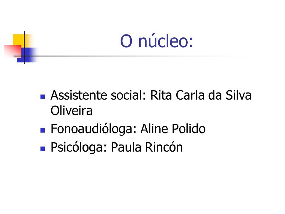 O núcleo: Assistente social: Rita Carla da Silva Oliveira