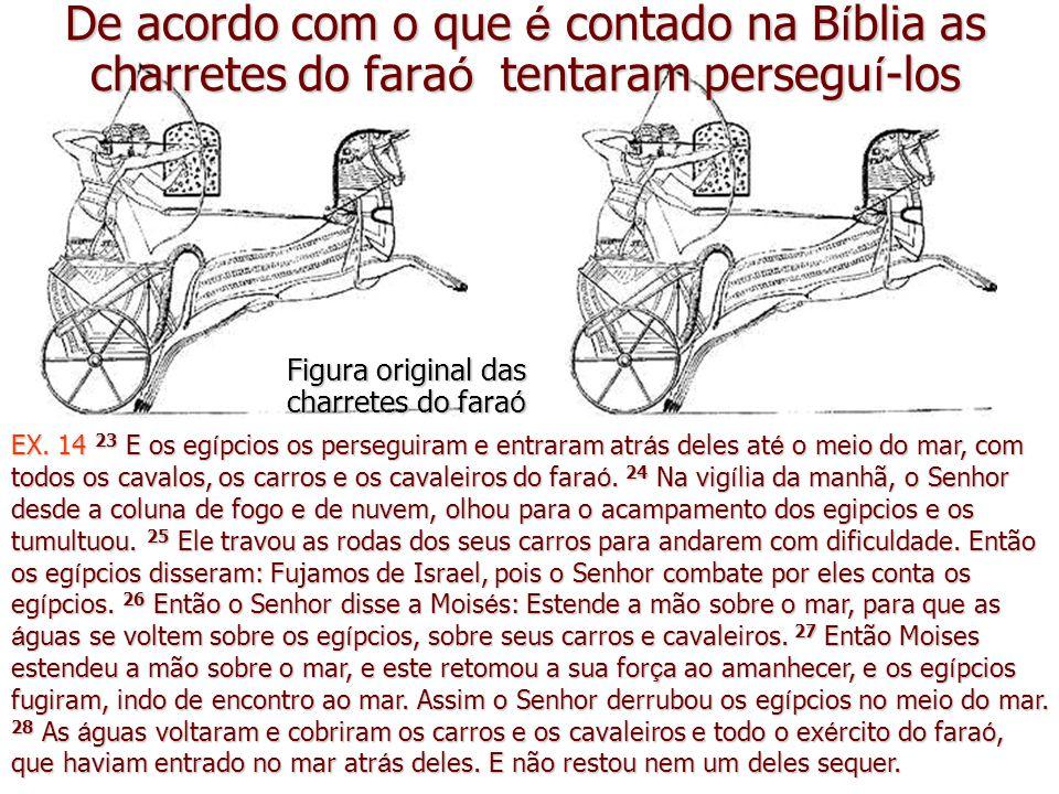 De acordo com o que é contado na Bíblia as charretes do faraó tentaram perseguí-los